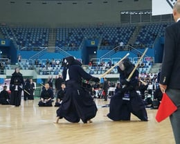 Masa fighting Japan at the 2018 Kendo World Championships